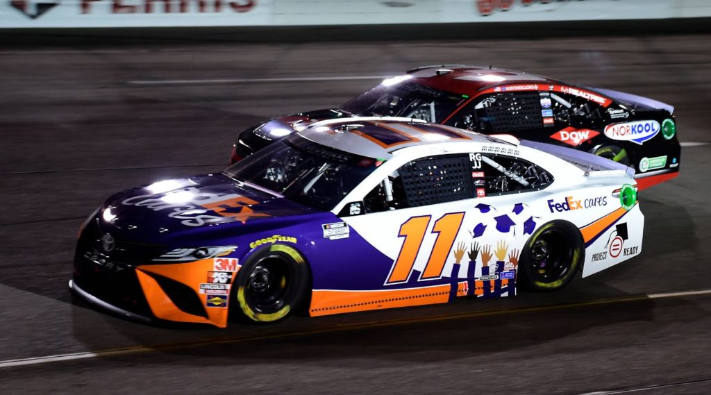 Denny Hamlin racing side by side with Austin Dillon at Richmond Raceway in 2020